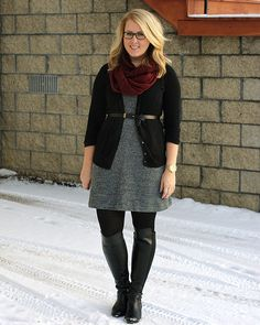I love contrasting neutrals with color accents. Skirts, tights, and boots are my fave!