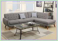 Poundex Gray Sofa Set - DescriptionAn uptown state of mind, this sectional is for the hipster with a unique sense of style.Poundex Gray Sofa Set - An uptown state of mind, this sectional is for the hipster with a un Mid Century Sectional, 2 Piece Sectional Sofa, Leather Sectional Sofas, Sofa Set, Modern Sectional, Couch Sofa, Chaise Sofa, Fabric Sectional, Couches