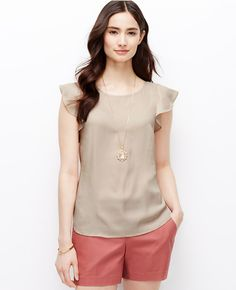 This top is so much nicer in person, more of a blush than a taupe.  Petite Crepe Flutter Sleeve Top