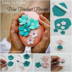 How to make easy Blue Fondant Flowers: includes free video tutorial