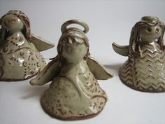 handbuilt  pottery angel | Flowing Stream: Ceramic angels in Cream Breaking Rust