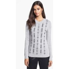 Tory Burch 'Etta' Embellished Crewneck Sweater Light Grey Melange Small. Cool-tone jewels glitter the front of a relaxed cashmere-enriched sweater vertically striped by ribb......[$450.00]