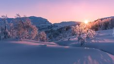 Zima, Promienie słońca, Zachód słońca, Góry, Drzewa