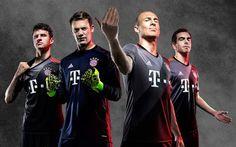 Nouveau Maillot Bayern Munich Exterieur 2016 2017 présente une couleur sans précédent pour le club en gris, combinés avec des éléments de tons, noir et orange.