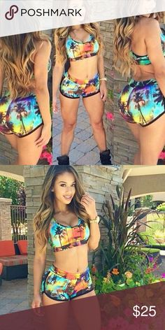 New two-piece crop top shorts tropical set Brand new! Never worn. Super cute set!! Tops Crop Tops