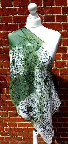 Hand dyed and screen printed green and white by HollyEdenTextiles, £25.00