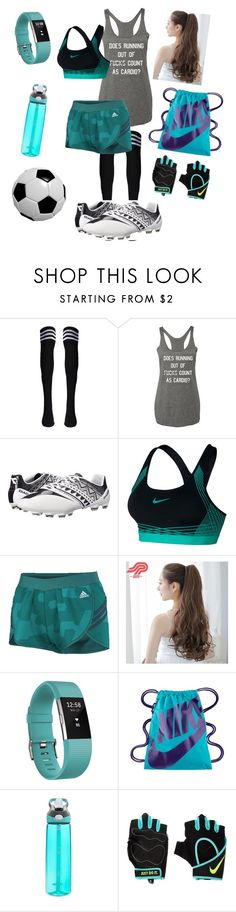 """""""Untitled #109"""" by shadowlunawolf ❤ liked on Polyvore featuring Diadora, NIKE, adidas, Pin Show, Fitbit and Contigo"""