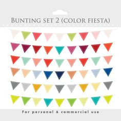 Bunting banner clip art for digital scrapbooking - flag clip art, stiched flags, decorative, rainbow colors, multicolor $3.40