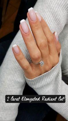 Cushion Cut Engagement, Engagement Ring Cuts, Cute Acrylic Nails, Acrylic Nail Designs, Hair And Nails, My Nails, Wedding Nails, Wedding Rings, Fire Nails