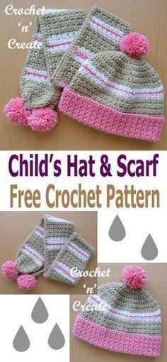 Crochet Childs Hat Scarf Free Crochet Pattern Crochet N Create Crochet Kids Scarf Crochet Hats Crochet Toddler