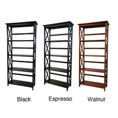 @Overstock - Frame materials: Solid wood   Finish: Espresso, black, walnut  Made of 100-percent solid wood  http://www.overstock.com/Home-Garden/Montego-5-tier-Bookcase/6345338/product.html?CID=214117 $117.99