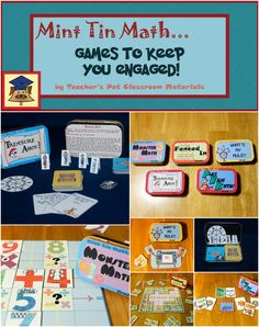 TEACHER'S PET CLASSROOM MATERIALS offers  five math skill games.  Each  game is designed to fit conveniently into a mint tin for easy storage. $3 each.