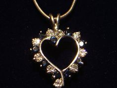 Vintage Heart Necklace with Dark Blue Stones by My3LadiesJewelry, $17.95