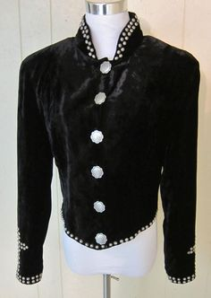 Double D Ranchwear  Western  Black Velvet Studded Jacket Top Women's Size S #DoubleDRanchwear #ShortJacket