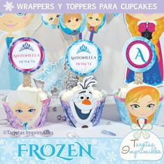 Frozen for printed Wrappers and toppers for cupcakes, Anna, Elsa, and Olaf