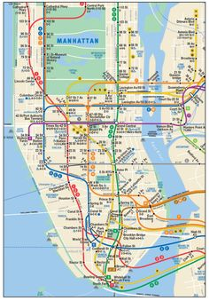 This is Manhattan Subway Map in New York City. This is the official subway map of Manhattan, New York City, MTA, Metropolitan Transportation Authority. Manhattan New York, Nyc Subway Map, New York Subway, Voyage Usa, Voyage New York, Visit New York City, New York City Travel, Map Of New York City, Plan New York