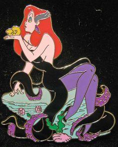 "jaycobey: "" Jessica Rabbit as Ursula from The Little Mermaid pin. Old Disney, Disney Love, Punk Disney, Disney Girls, Jessica And Roger Rabbit, Disneyland Pins, Twisted Disney, Disney Trading Pins, Disney Merchandise"