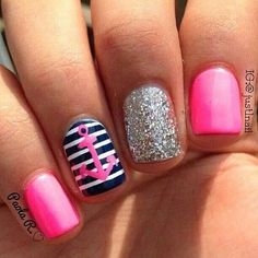 <3 navy nails pink, blue navy, sparkle, glitter, anchor.