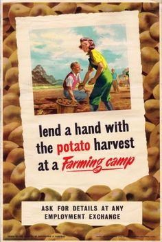 Lend a Hand with the Potato Harvest, 1940s - original vintage poster listed on AntikBar.co.uk