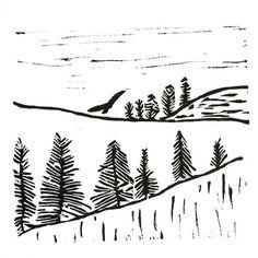 winter landscape linoleum block print 9 x 12 wall by PerlaAnne Winter Drawings, Linoleum Block Printing, City Drawing, Litho Print, Virtual Art, Painted Letters, Winter Landscape, Linocut Prints, Art Sketches