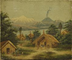 Marae, Possibly at Hatepe on the Shores of Background