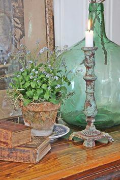Farmhouse Decorating ~ Vintage Bottle, Books, Candle, Potted Plant