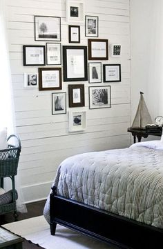 Bedroom wall idea made from wood.
