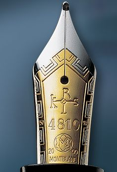 The nib of a silver, gold, rhodium and tsavorite limited-edition pen by Montblanc entitled 'Patron of Art Edition Karl der Grosse, Hommage à Charlemagne' ('Charles the Great, Homage to Charlemagne); it is engraved with Charlemagne's 'Carolus' monogram. (Montblanc). I'm related to Charlemagne.