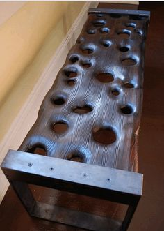 A bench with holes