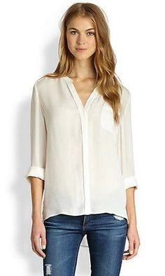 White silk blouses are a staple. I would love more of these. :) Joie  Nura Silk Blouse++Saks