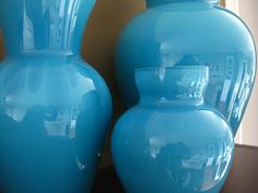 Painted glass that looks like ceramics.  So pretty, and vases are so cheap at Goodwill!