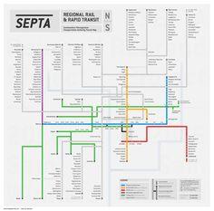 Unofficial Map: SEPTA (Philadelphia, PA) Regional Rail and Rapid Transit by Sam Winfield