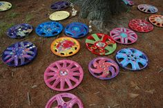 A few finished masterpieces by kids! My Hubcap Art http://hubcapart.tripod.com/