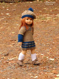 "HandKnit Sweater Dress & Beret for 18"" American Girl Dolls by Debonair…"
