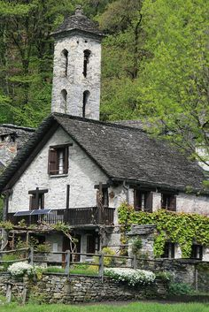Church Tower  The georgous stone-and-slate village of Foroglio in the Val Bavona -  Ticino, Switzerland.