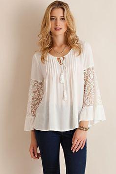 Love this Off-White Ruffle Lace-Sleeve Top on - Wedding Dresses Bohemian Mode, Boho Chic, Bluse Outfit, Top Mode, Mode Abaya, Moda Boho, Boho Fashion, Womens Fashion, Fashion Black