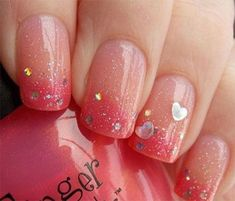 Valentine's Day Nail Art Designs to Fall in Love with! Sparkly Valentine's Day Gradient NailsSparkly Valentine's Day Gradient Nails Frensh Nails, Nails Polish, Gradient Nails, Ombre Nail, Nails 2016, Pink Nails, Acrylic Nails, Fabulous Nails, Gorgeous Nails