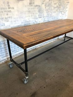 Wood desk - reclaimed wood -on wheels Reclaimed Wood Table Reclaimed Conference Table Conference Vintage Industrial Furniture, Industrial Table, Industrial Kitchen Island, Rustic Furniture, Pipe Furniture, Table Furniture, Furniture Movers, Funky Furniture, Cheap Furniture