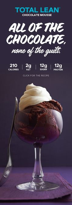 Whip up some mousse without wiping out your weight loss! Get the Total Lean Fluffy Chocolate Mousse recipe from GNC's free Learning Center. Healthy Eating Recipes, Healthy Desserts, Clean Eating Snacks, Just Desserts, Dessert Recipes, Cooking Recipes, Lean Recipes, Healthy Food, Chocolate Mousse Recipe