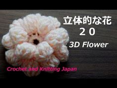 立体的な花の編み方 20 玉編みの花【かぎ針編み】編み図・字幕解説 How to Crochet 3D Flower  / Crochet and Knitting Japan - YouTube Crochet Flower Squares, Crochet Flowers, Crochet Diagram, Crochet Patterns, Crochet Brooch, Throw Pillows, Embroidery, Knitting, Chiffon