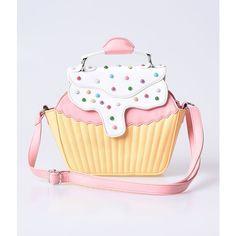 Yellow & Pink Strawberry Lemonade Cupcake Handbag ($70) ❤ liked on Polyvore featuring bags, handbags, shoulder bags, yellow, handbag purse, zip shoulder bag, handbags shoulder bags, polka dot handbag and yellow handbags