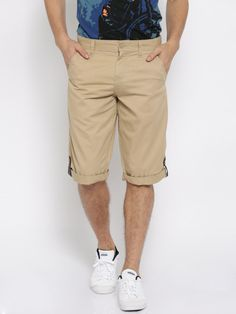 Buy Locomotive Beige Roll Up Shorts - Shorts for Men | Myntra