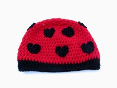 Ladybug Heart Valentines Beanie Made to Order by yoyarnover