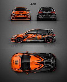 VW Golf GTI Clubsport grafisch ontwerp in oranje en grijs. Volkswagen Amarok, Volkswagen Golf, Vw Golf 7, Bmw Autos, Car Colors, Vw Cars, Orange Grey, Rally Car, Car Wrap
