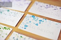 watercolor splattered biz cards, totally what i want
