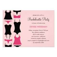 Pretty Lingerie Bachelorette Party Invitations http://www.zazzle.com/pretty_lingerie_bachelorette_party_invitations-161047827204126927?rf=238282136580680600