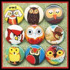 9 cool vintage OWLS 1 inch buttons medallions or by ButtonScience, $8.72