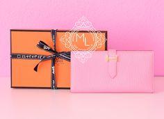 Hermes Rose Confetti Chevre Bearn Wallet - New