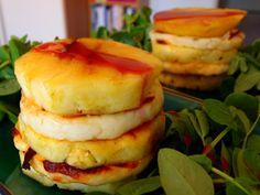 Pineapple and halloumi salad stacks
