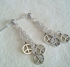 Retro Tibetan Silver Peace Sign Stainless Steel Post Earrings Free Shipping by PersnicketyPatty on Etsy